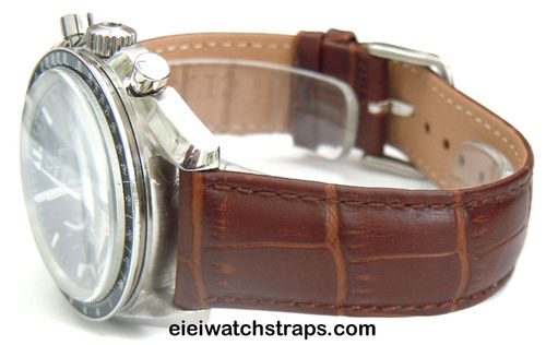 Classic Dark Brown Crocodile Grain Leather Watchstrap Omega Speedmaster