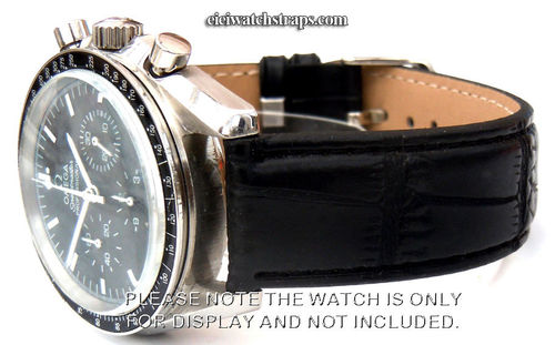Black Crocodile Watchstrap For Omega Speedmaster