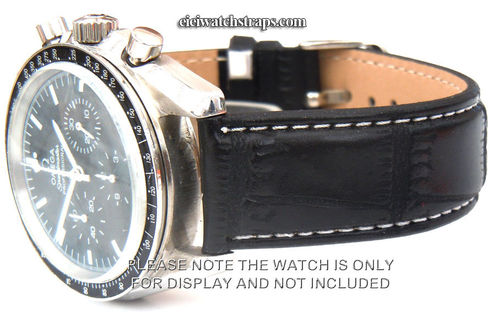 Black Crocodile Watchstrap White Stitched For Omega Speedmaster