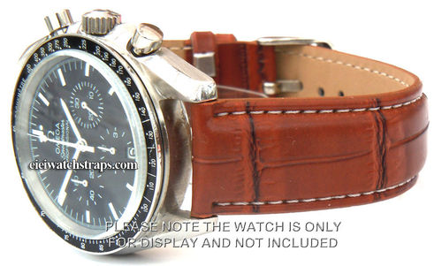 Brown Crocodile Watchstrap White Stitched For Omega Speedmaster