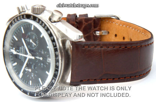 Crocodile Oval Grain Leather Watchstrap For Omega Speedmaster