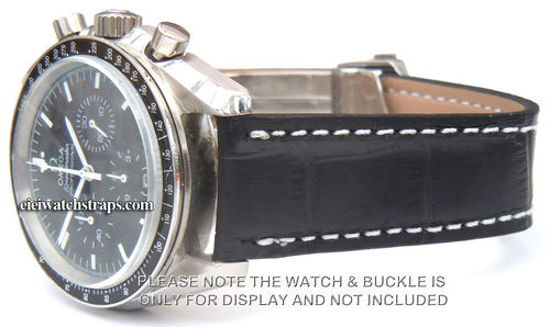 Black Crocodile Watch strap For Deployment Buckle For Omega Speedmaster