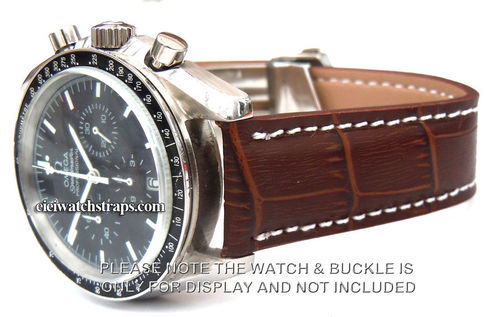 Brown Crocodile Watchstrap For Deployment Buckle For Omega Speedmaster