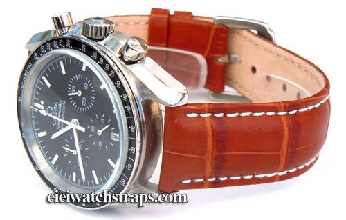 20mm Classic Brown Crocodile Grain Leather Watchstrap For Omega Speedmaster