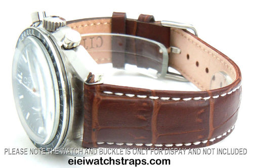20mm Classic Dark Brown Crocodile Grain Leather Watchstrap For Omega Speedmaster