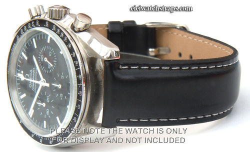 Black Leather Watchstrap White Stitching For Omega Speedmaster