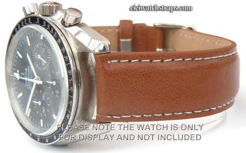 Brown Leather Watchstrap White Stitching For Omega Speedmaster