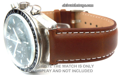 Dark Brown Leather Watchstrap White Stitching For Omega Speedmaster