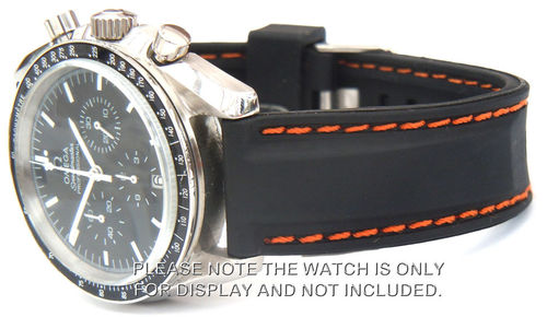 Silicon Rubber Watch Strap Orange Stitched on Deployment For Omega Speedmaster