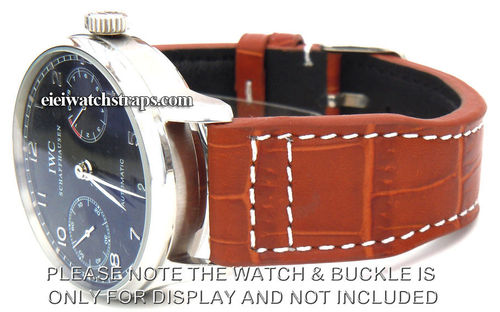 Aviator 22mm Brown Alligator watchstrap For IWC Portuguese
