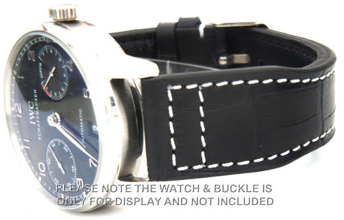 Aviator 22mm Black Alligator watchstrap For IWC Portuguese