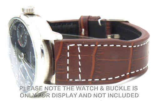 Aviator 22mm Dark Brown Alligator watchstrap For IWC Portuguese