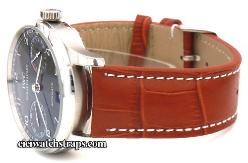 Brown Alligator Grain Padded Leather Watchstrap For IWC Portuguese