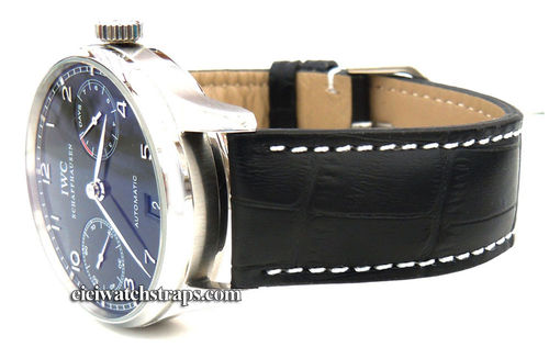 Black Alligator Grain Padded Leather Watchstrap For IWC Portuguese