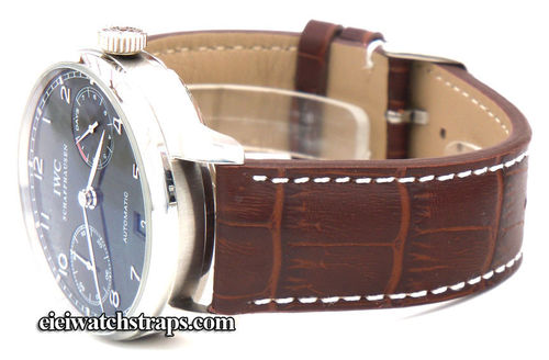 Dark Brown Alligator Grain Padded Leather Watchstrap For IWC Portuguese