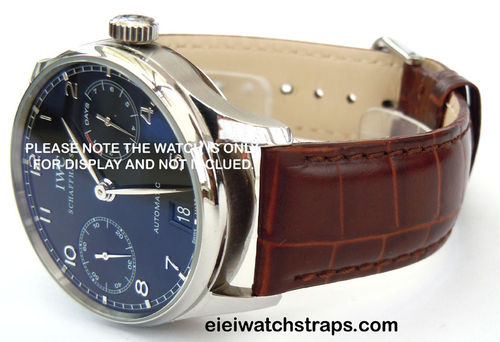 22mm Crocodile Oval Grain Leather Watchstrap For  IWC Portuguese