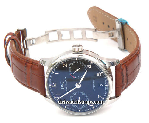 Brown Crocodile Watchstrap on butterfly deployant clasp For IWC Portuguese