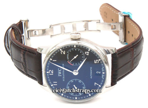 Dark Brown Crocodile Watchstrap on butterfly deployant clasp IWC Portuguese