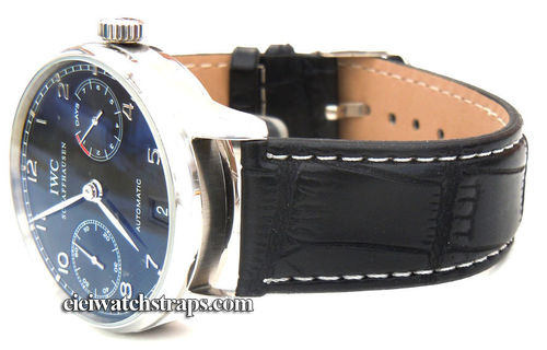 Black Crocodile Watchstrap Stitched For IWC Portuguese