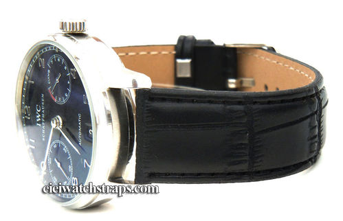 Black Crocodile Watchstrap For IWC Portuguese