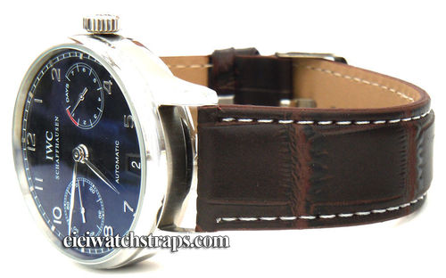 Dark Brown Crocodile Watchstrap Stitched For IWC Portuguese