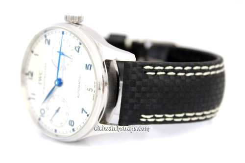 Carbon Fibre 22mm Black Leather White Stitching Watchstrap For IWC Portuguese
