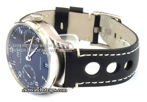 Grand Prix Black Leather Watchstrap For IWC Portuguese