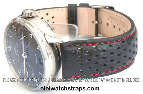 Rally Perforated RED Stitched Black Leather Watchstrap For IWC Portuguese
