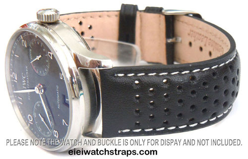 Rally Perforated White Stitched Black Leather Watchstrap For IWC Portuguese