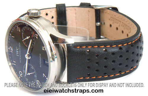 Rally Perforated Orange Stitched Black Leather Watchstrap For IWC Portuguese