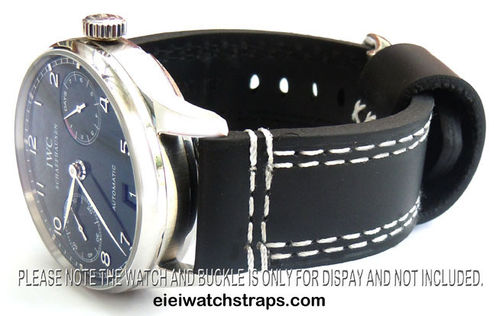 YiPan 22mm Black Leather watchstrap White Stitched For IWC Portuguese