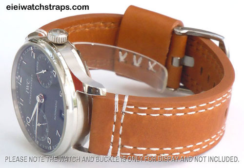 YiPan 22mm Brown Leather watchstrap White Stitched For IWC Portuguese