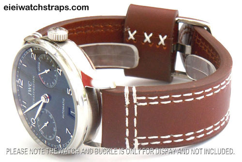 YiPan 22mm Coffee Leather watchstrap White Stitched For IWC Portuguese