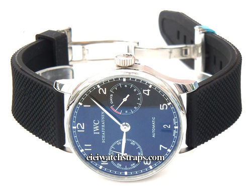 22mm Silicon Rubber Watchstrap Distinctive textured top surface For IWC Portuguese