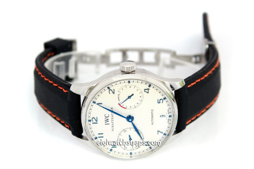 Silicon Rubber Watch Strap Orange Stitched on Deployment For IWC Portuguese