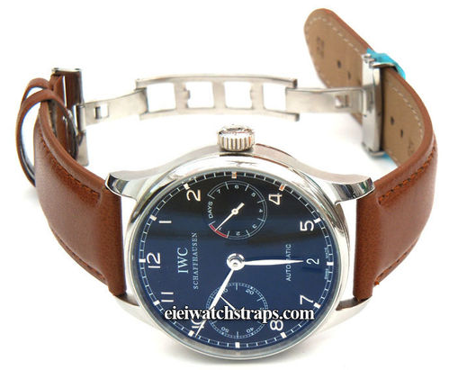 Brown Leather Watchstrap on butterfly deployant clasp For IWC Portuguese