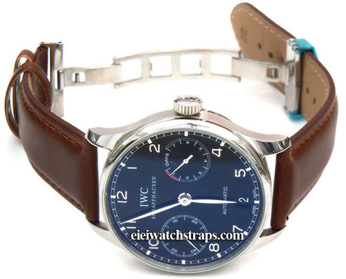 Dark Brown Leather Watchstrap on butterfly deployant clasp For IWC Portuguese