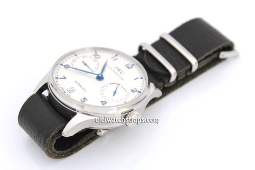 NATO Genuine Black Leather Watchstrap For IWC Portuguese