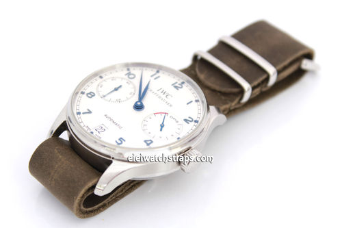 NATO Genuine Green Leather Watchstrap For IWC Portuguese