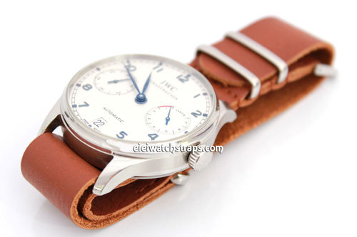 NATO Genuine Brown Leather Watchstrap For IWC Portuguese