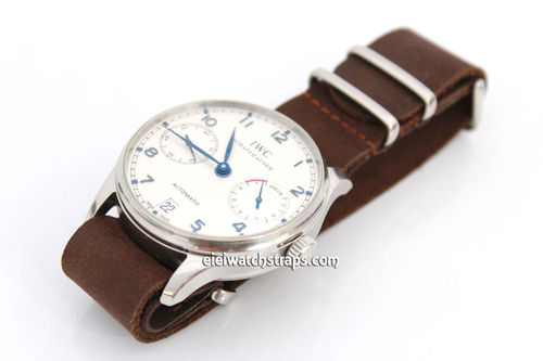 NATO Genuine Dark Brown Leather Watchstrap For IWC Portuguese