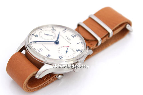 NATO Genuine Tan Leather Watchstrap For IWC Portuguese