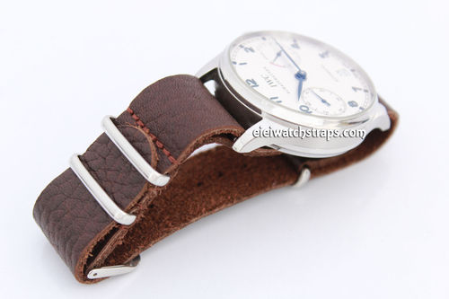 NATO Genuine Coffee Brown Leather Watchstrap For IWC Portuguese
