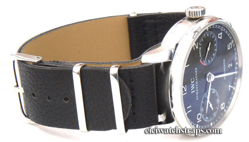 NATO Black Leather Watchstrap For IWC Portuguese