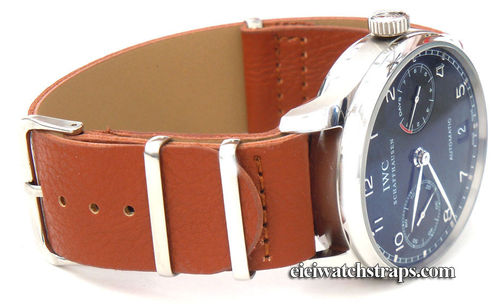 NATO Brown Leather Watchstrap For IWC Portuguese
