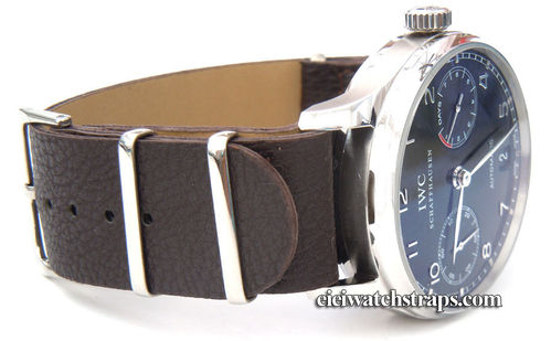 NATO Coffee Brown Leather Watchstrap For IWC Portuguese