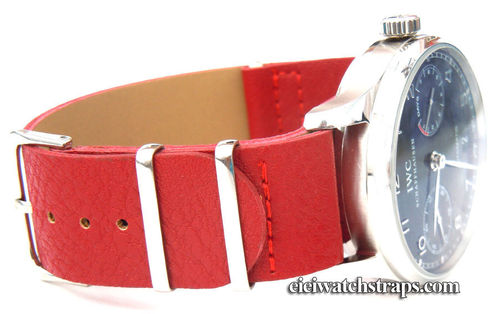 NATO Red Leather Watch Strap For IWC Portuguese