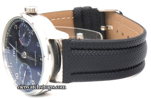 Black polyurethane Waterproof watchstrap For IWC Portuguese