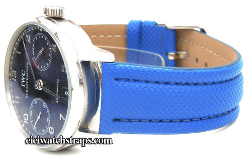 Blue Polyurethane Waterproof Watchstrap For IWC Portuguese
