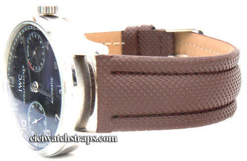 Brown Polyurethane Waterproof Watchstrap For IWC Portuguese